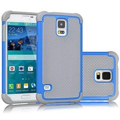 Galaxy S5 Case, Tekcoo(TM) [Tmajor Series] [Turquoise/Grey] Shock Absorbing Hybrid Rubber Plastic Impact Defender Rugged Slim Hard Case Cover Shell For Samsung Galaxy S5 S V I9600 GS5 All Carriers