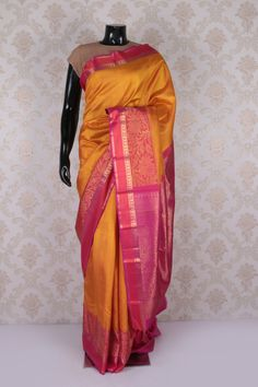 #Golden #yellow and #pink dual tone #kanchipuram silk #opulent saree with multicoloured border-SR11599