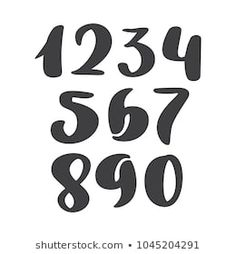 vector set of calligraphic ink numbers. ABC for your design, brush lettering, Handwritten brush style modern cursive font isolated on white background Number Tattoo Fonts, Tattoo Lettering Styles, Number Tattoos, Number Fonts, Hand Lettering Fonts, Cursive Fonts, Calligraphy Fonts, Brush Lettering, Cursive Numbers
