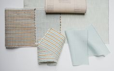 Mint colour palette with pops of tan leather and ochre wool. Swatch designs by Line Nilsen. Mint Color Palettes, Textile Design, Tan Leather, Line, Swatch, Hand Weaving, Textiles, Wool, Projects