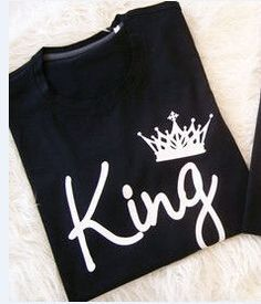 New Fashion 2016 Summer Black Sexy Leisure Letters King And Queen White Printing Interesting Couple T-Shirt Plus-Size