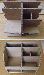 Diy Storage Projects, Diy Storage Boxes, Desk Organization Diy, Diy Desk, Diy Craft Projects, Cardboard Organizer, Cardboard Storage, Wooden Desk Organizer, Cardboard Box Crafts