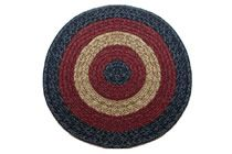 Massachusetts - Country Navy & Burgundy Round Braided Rug This high-quality braided rug is made by American workers at our family-owned business in the North Carolina Mountains. It is made from Naturalized Olefin, which is a synthetic, polypropylene yarn that is extremely durable, yet soft enough for use indoors. It is color fast and washable. Visit www.stroudbraided... for more details