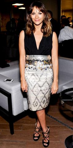 JUNE 22, 2012 Rashida Jones WHAT SHE WORE Jones feted the Celeste And Jesse Forever after-party in a metallic and black ensemble, including an Altuzarra dress and Jimmy Choo sandals.