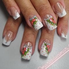 Diy Nail Designs, Nail Polish Designs, Acrylic Nail Designs, Hot Nails, Hair And Nails, Boxing Day, Fabulous Nails, Flower Nails, Creative Nails