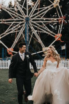 We can't get over all the cuteness from these whimsy carnival wedding portraits   Image by Jonnie + Garrett Wedding Photographers