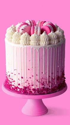 Raspberry White Chocolate Cake Life is difficult, & we don't always have the answers! For those times, we have cake. White Chocolate Cake, Chocolate Drip, Chocolate Shavings, Bake My Cake, Bolo Minnie, Dried Raspberries, Candy Melts, Drip Cakes, Cake Tins