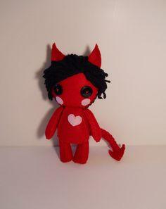 Felt little red devil with heart plush stuffed rag doll toy
