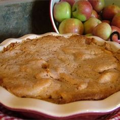 Easy Swedish Apple Pie - Allrecipes.com 1 1/2 pounds Granny Smith apples - peeled, cored and sliced 1 tablespoon sugar 1 cup sugar 1 cup flour   1 teaspoon cinnamon 3/4 cup melted butter 1 egg