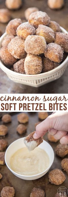 Cinnamon Sugar Soft Pretzel Bites - These cinnamon sugar sbites are perfect soft pretzels with a chewy pretzel crust coated in cinnamon sugar. Perfect served with a warm cream cheese dip! Talk about a (Dessert Recipes Cinnamon) Brownie Desserts, Just Desserts, Delicious Desserts, Yummy Food, Health Desserts, Fingerfood Recipes, Snack Recipes, Dessert Recipes, Soft Food Recipes