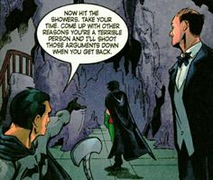 """curiosityid: """" This panel for anyone who thinks Bruce ignores/hates Tim or is a terrible father. Clearly, he is not. """""""