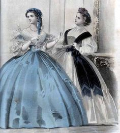 Perhaps Belle Moffat dressed Meg in a gown like this one from Peterson's Magazine (July 1861) : Fig. 1 - Evening Dress of light Blue silk. - The skirt is made quite plain, and the body low with short sleeves. A cape of figure lace and short puffed sleeves to correspond, complete this charming costume. The head-dress is composed of a wreath of blue, and blue velvet and silver cord.