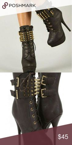 BROWN SPIKED BOOTIES New never worn 6in 2in platform  Faux leather material True to size Lace up and spikes The color is brown Wild Diva Shoes Ankle Boots & Booties