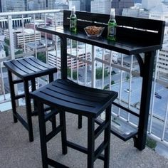 The Balcony Bar - 3 Piece Furniture (White), Patio Furniture (Aluminum) Apartment Balcony Decorating, Apartment Balconies, Apartments Decorating, Apartment Bar, Apartment Design, Bar Furniture, Outdoor Furniture, Outdoor Decor, Furniture Deals