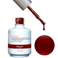 PERFECT MATCH - Soak Off Gel Polish + Lacquer - ROYAL RED - PERFECT MATCH dual set contains our cutting-edge, high-quality gel polish and matching Dare to Wear nail lacquer. Matching Set - 1 Gel Polish + 1 Nail Lacquer, 0.5 fl. oz. bottles.  PERFECT