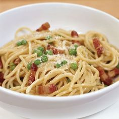 A carbonara sauce always has eggs, bacon (usually pancetta) and Parmesan or pecorino cheese; some versions contain heavy cream, others do not. Top Che...