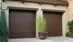 Wooden Garage Doors Design Ideas, Pictures, Remodel, and Decor Garage Door Panels, Custom Garage Doors, Wooden Garage Doors, Garage Door Design, Custom Garages, Spanish Home Decor, Spanish Colonial Homes, Spanish Style Homes, Spanish Bungalow
