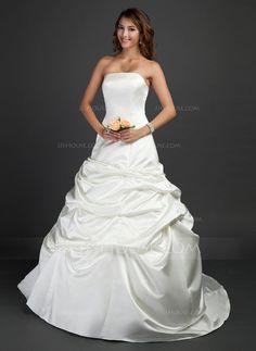 Ball-Gown Strapless Court Train Satin Wedding Dress With Ruffle (002011687) $163.00 jjs