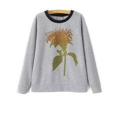 Crew Neck Plant Print Sweatshirt