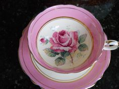 Paragon China Teacup. pink w/rose.