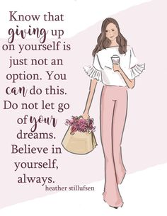 Wall Art for Women Giving Up Is Not An by RoseHillDesignStudio