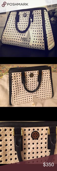 "Tory Burch ROBINSON BASKET-WEAVE TRIANGLE TOTE Cant find dust bag, but I ll give u tory burch shoes dust bag for free.   Pls feel free to ask for more details.  Woven leather. Bridge closure with magnetic snap. Tubular leather top handles. Removable, adjustable cross-body strap. Interior zipper pocket and 2 open pockets. Height: 9.7"" (24.5 cm) Length: 13"" (33 cm) Depth: 4.5"" (11 cm) Tory Burch Bags Totes"
