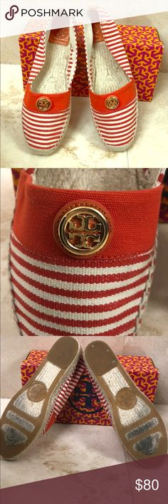 Tory Birch Espadrilles- worn once Sz 11 These Tory Burch espadrilles are beyond cute. Beige and coral striped canvas with a gold Tory Burch emblem. Authentic and come in original box. I only wore them once - they ran a bit big for me. Tory Burch Shoes