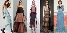 The multi-layered skirt is about to become a mainstay in our closets. Gucci's ongoing style of decadent kitsch is pioneering the look in pastel and pleats, giving this trend lush texture.  Left to Right: Giorgio Armani, Oscar de la Renta, Jonathan Simkhai, No. 21, Gucci   - ELLE.com