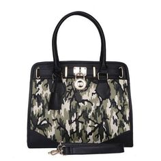 Michael Kors Hamilton Travel Camouflage Large Black Green Totes