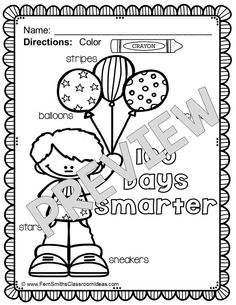 100th Day Fun with Seasonal Vocabulary! Color For Fun Printable Coloring Pages {10 coloring pages equals less than 15 cents a page.}  *Please note, these 10 pages are from my 100th Day Color For Fun Resource. This resource has two to five seasonal words per page similar to a Richard Scary Book or I-Spy Game. Terrific practice for your Emergent Readers while still bringing fun and joy to your Non-Readers. #TPT $Paid