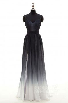 Sheath-Column Spaghetti Strap Natural Floor Length Ombre Chiffon Sleeveless  Criss-Cross Bridesmaid Dress 526ceee27