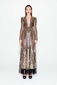 Alexander McQueen | Pre-Fall 2016 | 29 Gold sequined long sleeve maxi dress with sheer panels