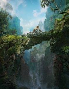 Conceptual matte painting of a jungle crossing up high in the mountains.
