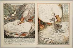 Het leelijke jonge eendje, pag. 6-7: naar het sprookje / van H. C. Andersen ; geteekend en gelithographeerd door T. van Hoytema,Amsterdam, C.M. van Gogh, 1893