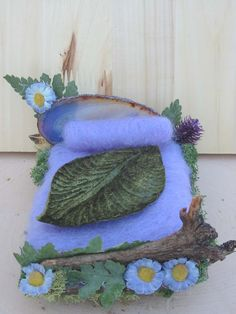 Lavender fairy bed with ferns and green leaf coverlet. $25.00, via Etsy.