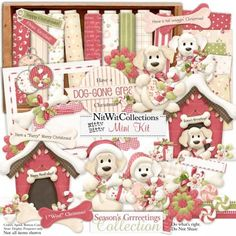 Digital scrapbooking cute Christmas puppy dog and card making cute Christmas puppy dog kit.  He even strung up his Christmas lights to celebrate at his dog house. Nitty Bitty - Season's Grrreetings Mini Kit