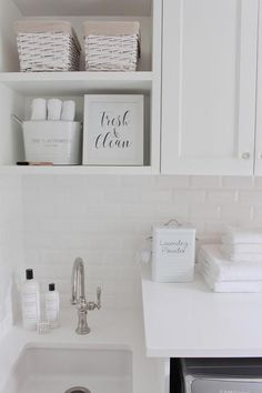 Cute Container For Laundry Detergent (especially If You Make Your Own).  Beveled Subway TileWhite ...