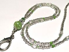 Green Glass & Crystal Hand crafted, Beaded Lanyard,Necklace, Teachers