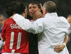 Ferguson celebrates with a deliriously inconsolable Cristiano Ronaldo after United's shootout victory over Chelsea in the Champions League final in Moscow, May 2008