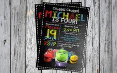 Chuggington Train Birthday Invitiation Invite on Chalkboard