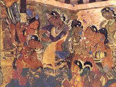 Ajanta cave painting  Maha-janaka Jataka, Cave 1   Dancer with musicians
