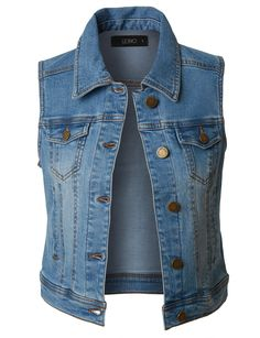 Look cool and edgy in this cropped denim vest. This denim goes perfectly with dark skinny pants or dresses. This vest will accentuate your silhouette and make any outfit look edgier. Perfect for all year round. Denim Vests, Denim Look, Distressed Denim, Blue Denim, Blue Jean Vest, Denim Jackets, Jean Jackets, Denim Waistcoat, Women's Jackets