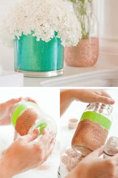 Colorful Glitter Vases | Click Pic for 26 DIY Wedding Centerpieces on a Budget | DIY Wedding Decorations for Outside