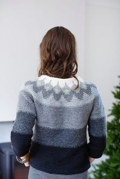 e345afde396fc1 A fitted top in Tunisian crochet with an attractive colourwork yoke  inspired by cold