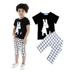 High Quality Summer Style Baby Girl Clothes Set Lovely Rabbit Printing T-shirt+Plaid Pants 2pcs Set Brand Kids Boy Clothing Set