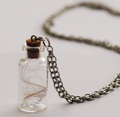 Baby Hair Locket Keepsake Pendant Custom Necklace with Glass Bottle and Long Chain