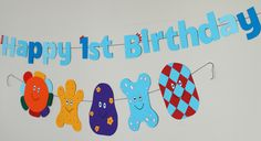 Handmade Birthday Banners. Garden Birthday, 1st Birthday Parties, 3rd Birthday, Birthday Ideas, Garden Kids, Night Garden, Birthday Banners, First Birthdays, Maya