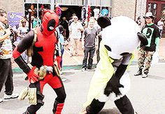 deadpool dances with panda #deadpool  #cosplayclass #marvel