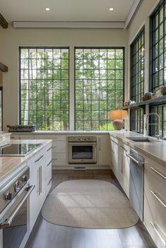 Transitional Kitchen Design Ideas, Pictures, Remodel and Decor Home Interior, Kitchen Interior, Interior Design, Hill Interiors, Cuisines Design, Windows And Doors, Black Windows, Huge Windows, Pella Windows