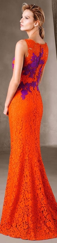 orange lace dress women fashion outfit clothing style apparel @roressclothes closet ideas Pronovias 2017
